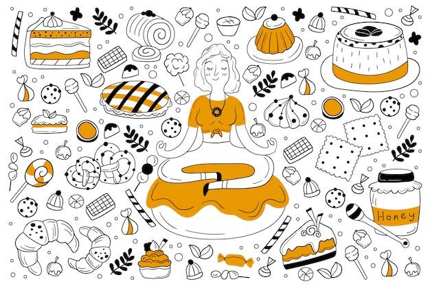 Conjunto de doodle de dulces