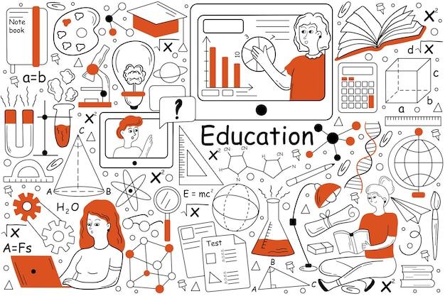 Conjunto de doodle de educación