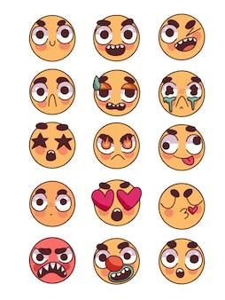 Conjunto de doodle de emoticonos lindos