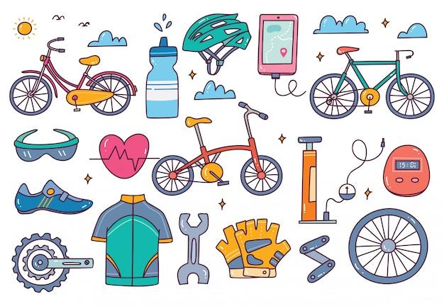 Conjunto de doodle de equipo de bicicleta