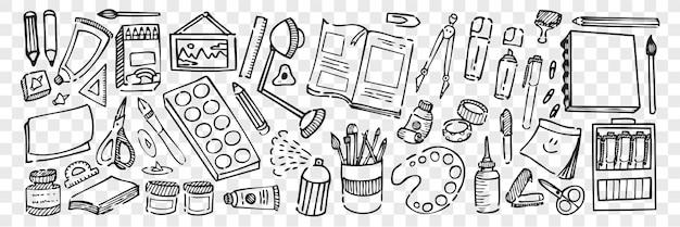 Conjunto de doodle de equipos artísticos dibujados a mano. colección lápiz tiza dibujo bocetos tijeras cuaderno pincel pinturas pegamento
