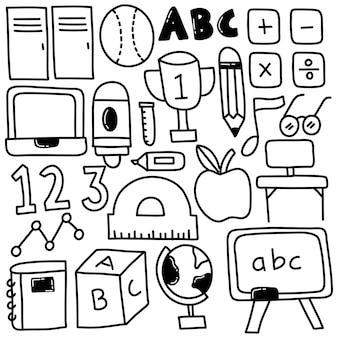 Conjunto de doodle de escuela primaria
