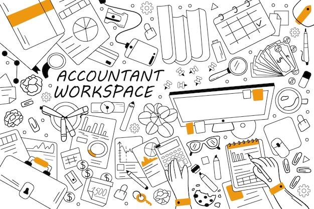 Conjunto de doodle de espacio de trabajo de contable. colección de garabatos de bocetos dibujados a mano.