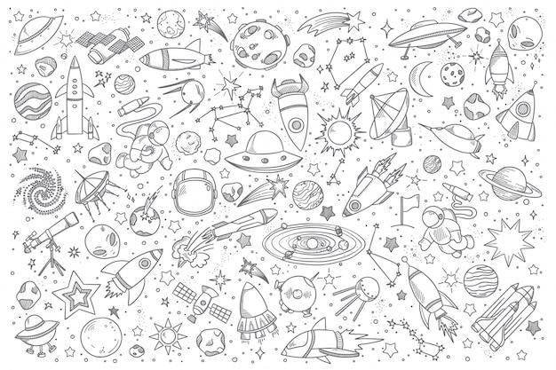 Conjunto de doodle de espacio