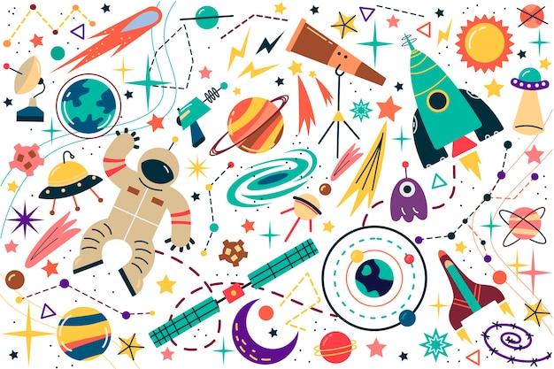 Conjunto de doodle de espacio.
