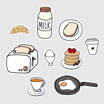 Conjunto de doodle de etiqueta engomada de desayuno