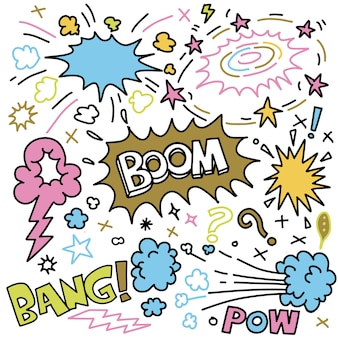 Conjunto de doodle de explosiones cómicas dibujadas a mano