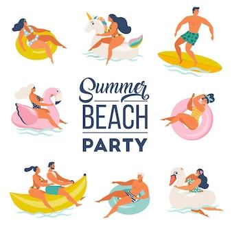 Conjunto de doodle de fiesta en la piscina