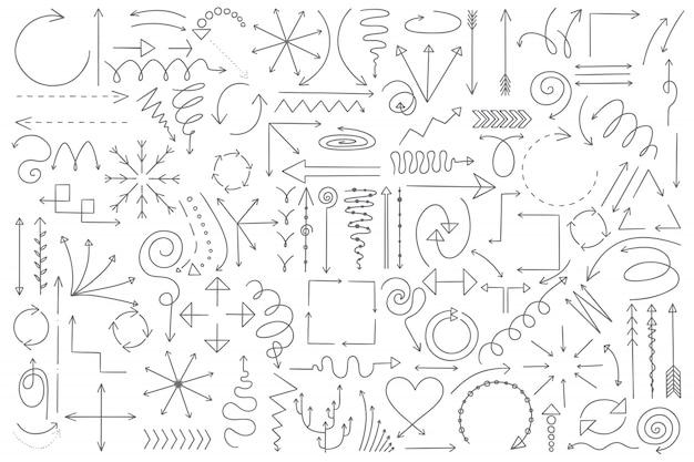 Conjunto de doodle de flechas