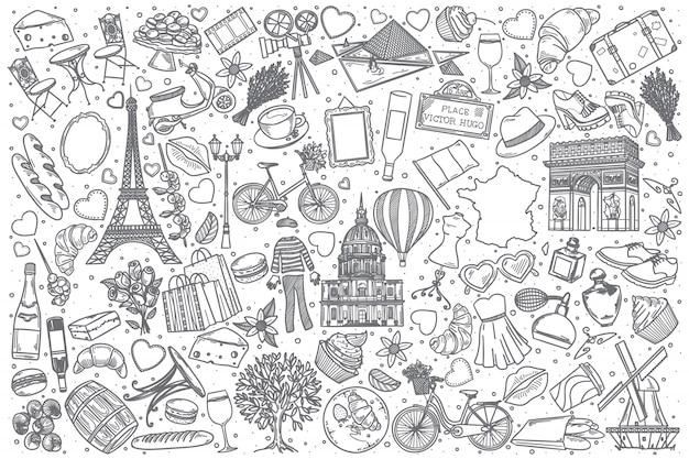 Conjunto de doodle de francia dibujado a mano
