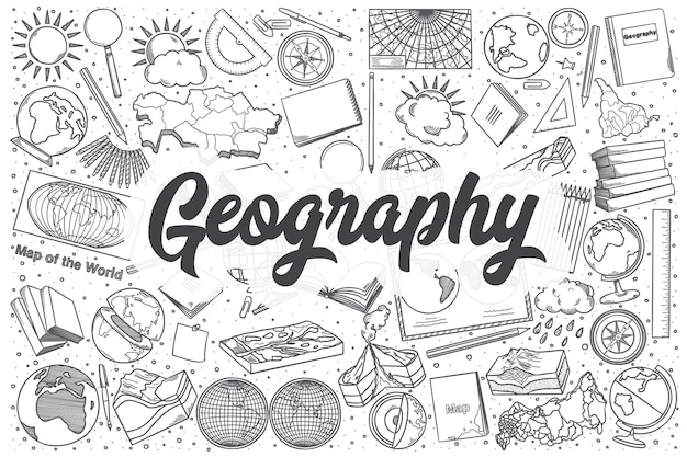 Conjunto de doodle de geografía dibujados a mano. rotulación - geografía