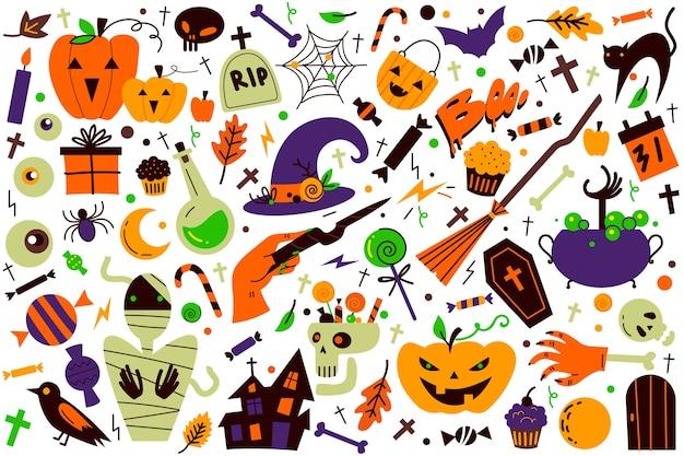 Conjunto de doodle de halloween.