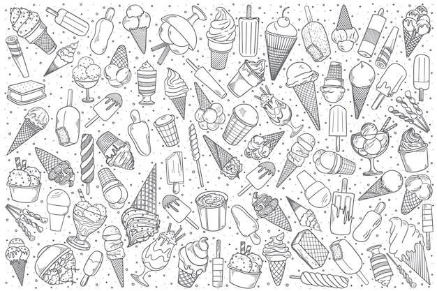 Conjunto de doodle de helado dibujado a mano