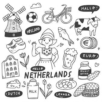 Conjunto de doodle de holanda dibujado a mano