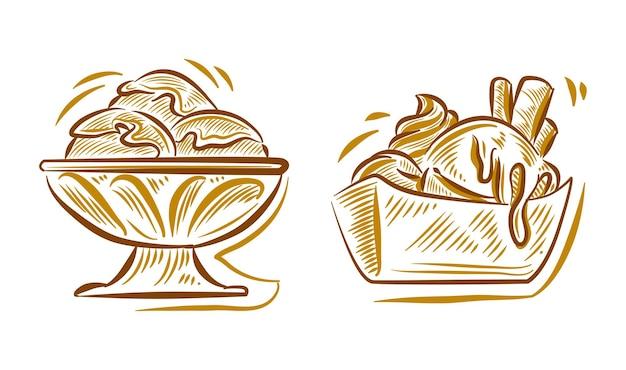 Conjunto de doodle de ilustración de dibujo a mano de helado para elemento de fondo de logotipo de marca