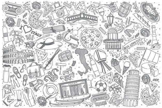 Conjunto de doodle de italia dibujado a mano