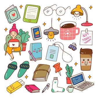 Conjunto de doodle kawaii de trabajo remoto