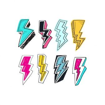 Conjunto de doodle lightning