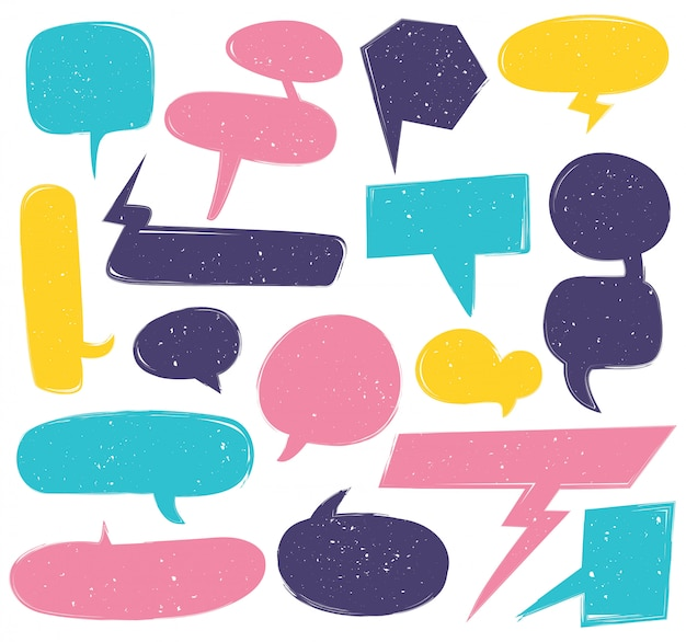 Conjunto de doodle lindo discurso burbuja