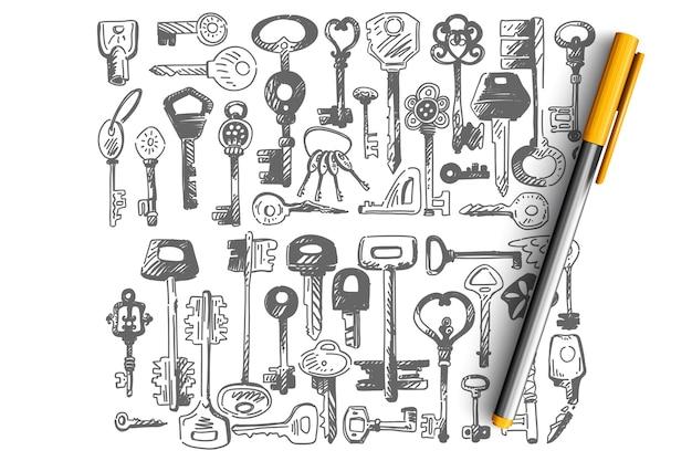 Conjunto de doodle de llaves. colección de llaves pequeñas de diferentes formas para abrir cerraduras de puertas aisladas en blanco