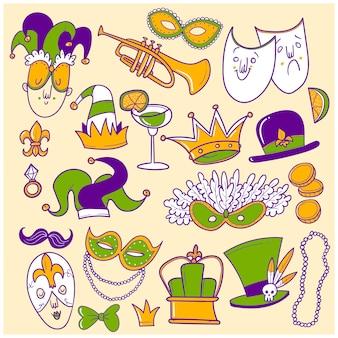 Conjunto de doodle de mardi gras dibujado a mano