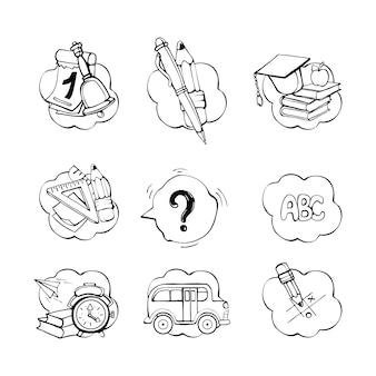 Conjunto de doodle de material escolar
