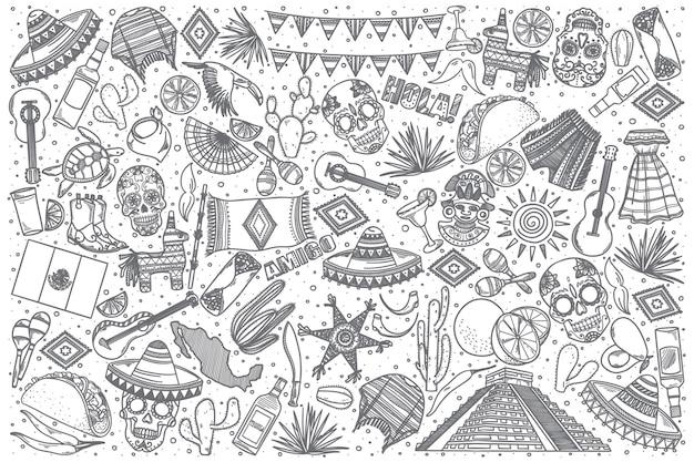 Conjunto de doodle de méxico dibujado a mano
