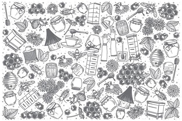 Conjunto de doodle de miel dibujado a mano