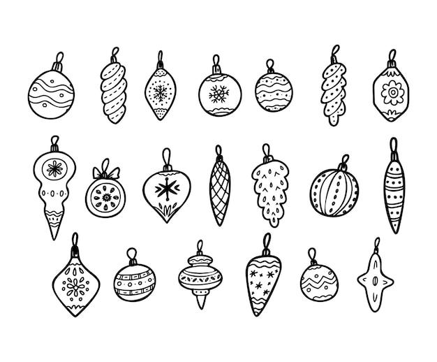 Conjunto de doodle de navidad. árbol de navidad, juguetes, pelotas. iconos de decoraciones de navidad dibujados a mano. ilustración de vector aislado sobre fondo blanco. elementos de diseño para tarjetas de felicitación navideñas, etiqueta de regalo.