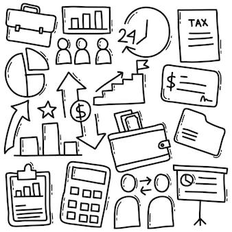Conjunto de doodle de negocios