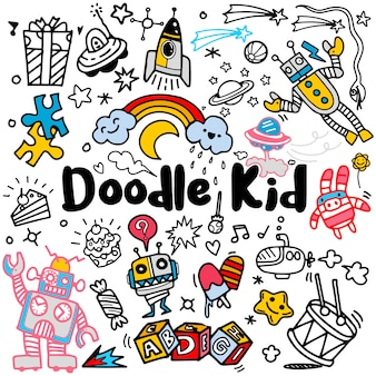 Conjunto de doodle de niños dibujados a mano, estilo doodle, ilustración vectorial