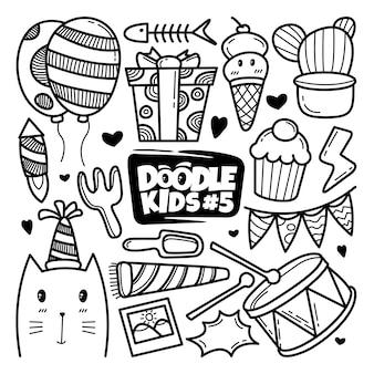 Conjunto de doodle de niños dibujados a mano