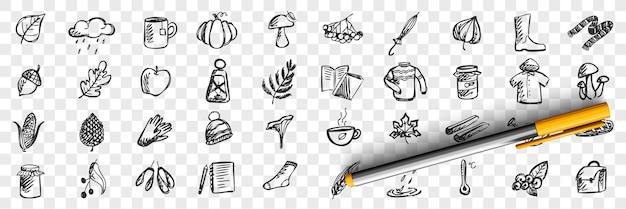 Conjunto de doodle de otoño. colección de patrones dibujados a mano, plantillas de bocetos de lluvia de lluvia, hongos, temperatura fría y charcos sobre fondo transparente. ilustración de la temporada meteorológica.