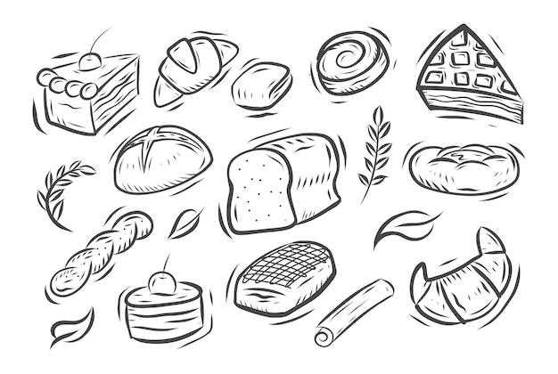 Conjunto de doodle de panadería dibujados a mano