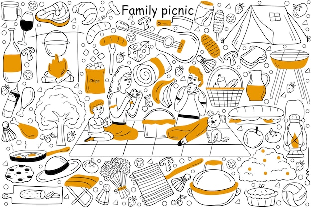 Conjunto de doodle de picnic familiar