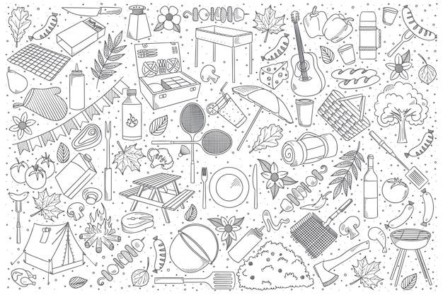 Conjunto de doodle de picnic