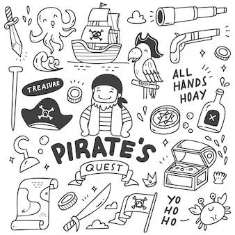 Conjunto de doodle de piratas lindos