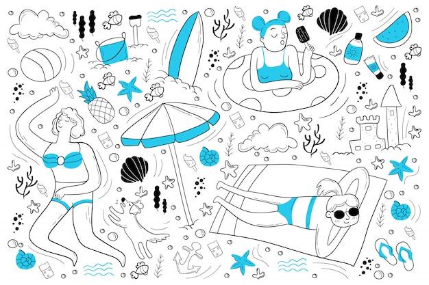 Conjunto de doodle de playa