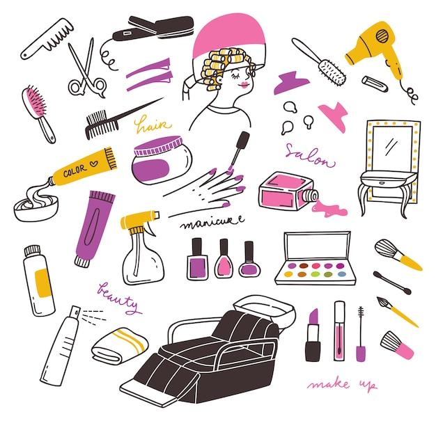 Conjunto de doodle de productos de belleza y salón