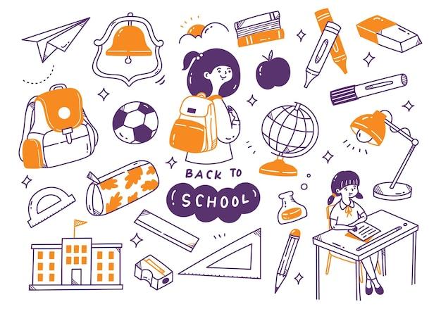Conjunto de doodle de regreso a la escuela