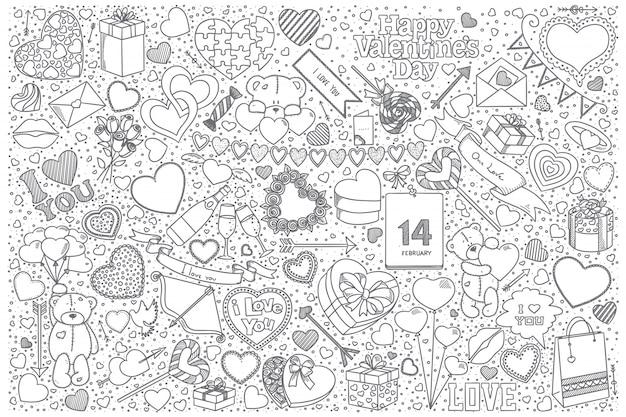 Conjunto de doodle de san valentín