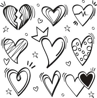 Conjunto de doodle sobre fondo blanco