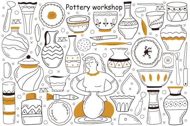 Conjunto de doodle de taller de cerámica