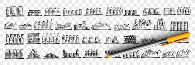 Conjunto de doodle de tienda de alimentos. colección de plantillas de bocetos dibujados a mano de diferentes tipos de comida en los estantes sobre fondo transparente. carne, verduras, pescado y frutas en la ilustración de la tienda de comestibles.