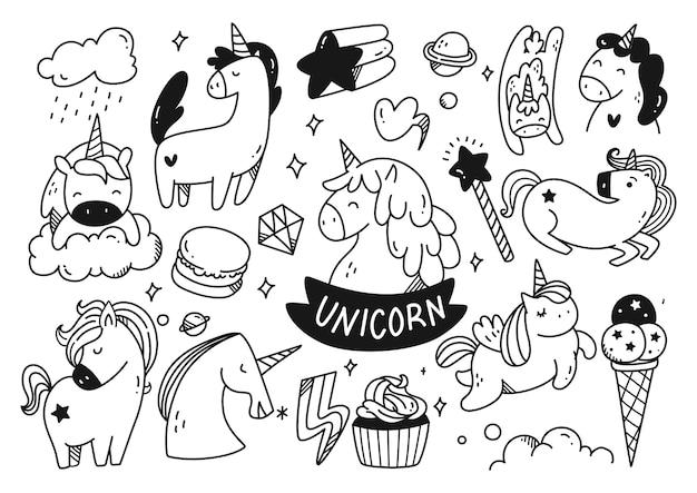 Conjunto de doodle de unicornio de dibujos animados
