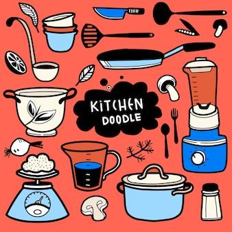 Conjunto de doodle de utensilios de cocina, ilustración dibujada a mano del conjunto de doodle