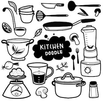 Conjunto de doodle de utensilios de cocina