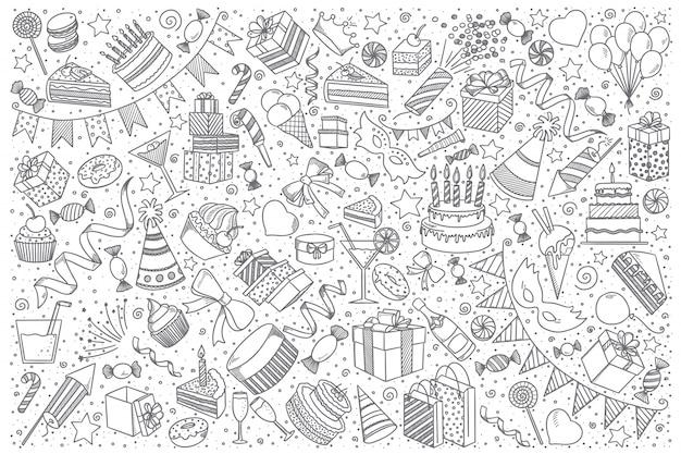 Conjunto de doodle de vacaciones