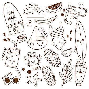 Conjunto de doodle de verano