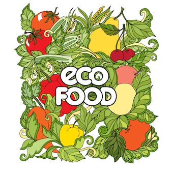 Conjunto de doodle con verduras y frutas de colores